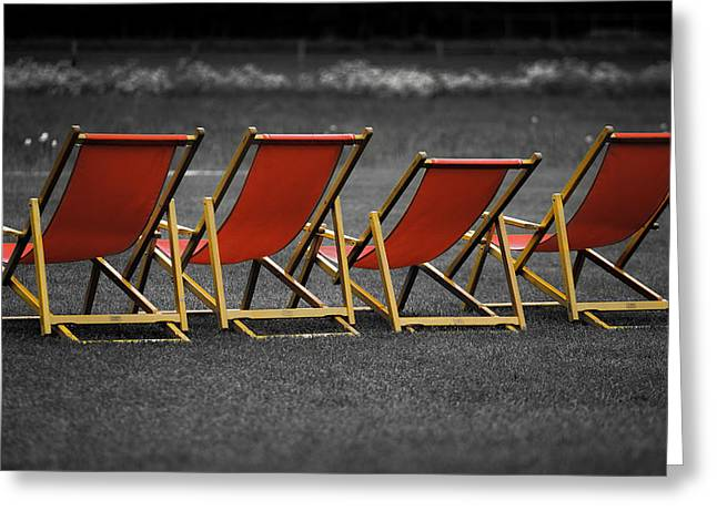 Daybed Greeting Cards - Red deck chairs Greeting Card by Mikhail Pankov