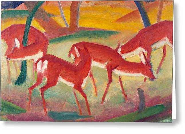 Red Deer Greeting Cards - Red Deer 1 Greeting Card by Franz Marc