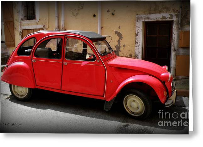 Red Deux Chevaux Greeting Card by Lainie Wrightson
