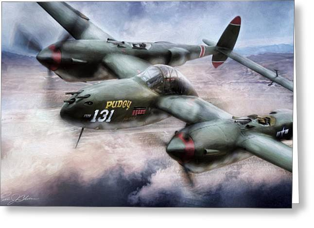 P-38 Greeting Cards - Red Devil Ace Greeting Card by Peter Chilelli