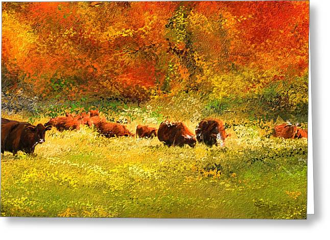 Autumn Landscape Paintings Greeting Cards - Red Devon Cattle In Autumn -Cattle Grazing Greeting Card by Lourry Legarde