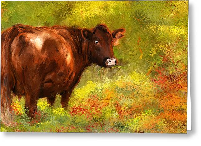 Farm Scenes Greeting Cards - Red Devon Cattle - Red Devon Cattle in a Farm Scene- Cow Art Greeting Card by Lourry Legarde