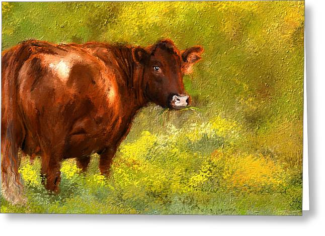 Farm Scenes Greeting Cards - Red Devon Cattle on Green Pasture Greeting Card by Lourry Legarde