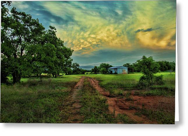 Storm Prints Photographs Greeting Cards - Red Dirt Road Greeting Card by Toni Hopper