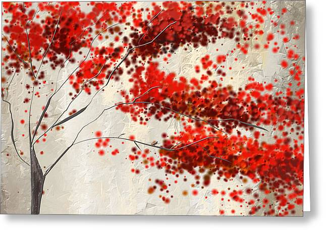 Red Maple Trees Greeting Cards - Red Divine- Autumn Impressionist Greeting Card by Lourry Legarde
