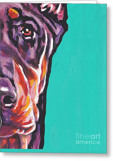 Doberman Pinscher Greeting Cards - Red Dobie Man Greeting Card by Lea