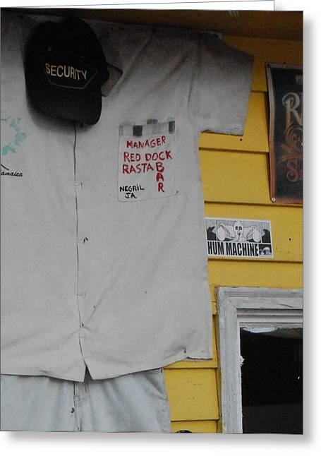 Baseball Shirt Greeting Cards - Red Dock Rasta Bar - 2 Greeting Card by Victoria Feazell