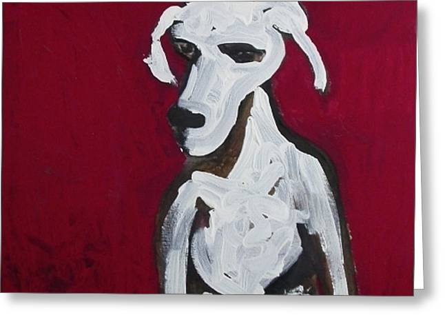 Red Dog Greeting Card by Amy Marie Adams