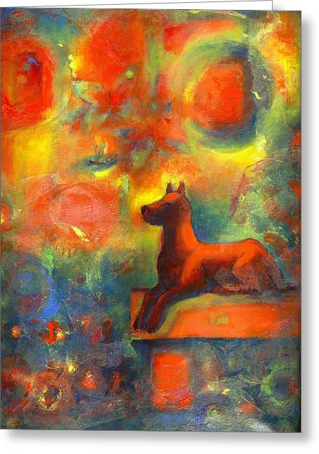 Temperature Mixed Media Greeting Cards - Red dog in the Garden 2 Greeting Card by Nato  Gomes