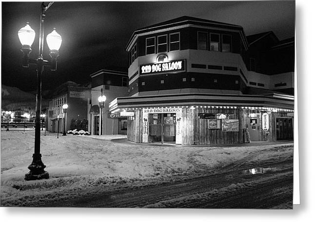 Downtown Franklin Digital Greeting Cards - Red Dog Saloon at Night Greeting Card by Kent Kay