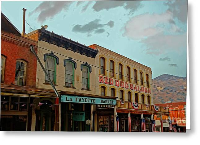 Main Street Greeting Cards - Red Dog Saloon Greeting Card by Cheryl Young