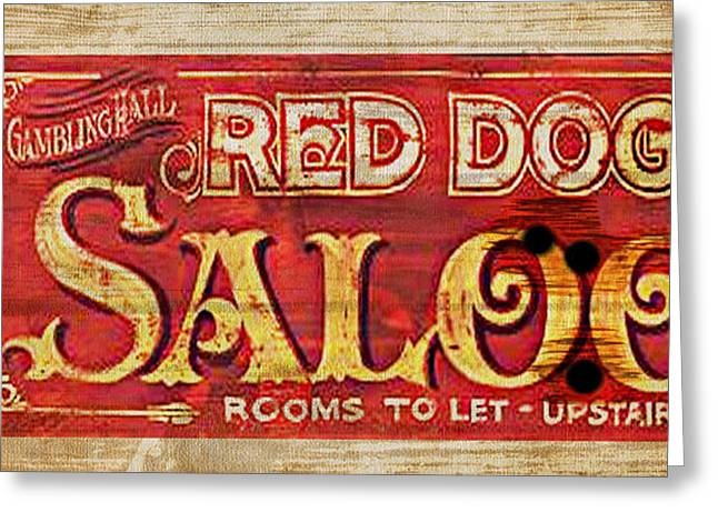 Saloons Greeting Cards - Red Dog Saloon Greeting Card by Greg Sharpe