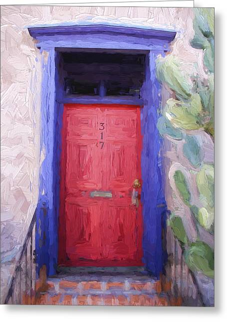 Architectural Detail Greeting Cards - Red Door 317 Tucson Barrio Painterly Effect Greeting Card by Carol Leigh