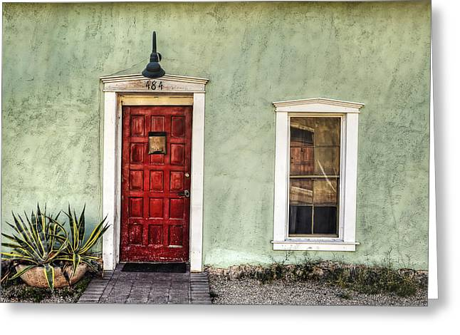 Old Door Greeting Cards - Red Door and Window Greeting Card by Ken Smith
