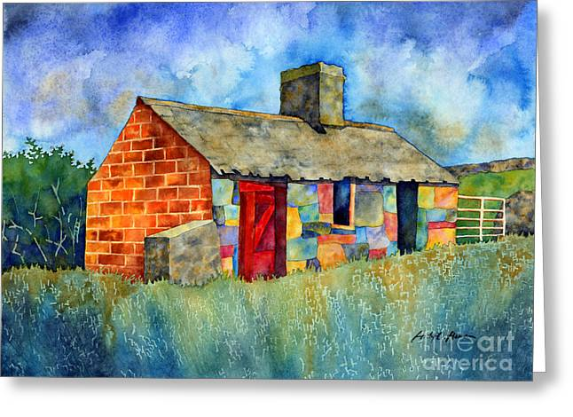 Red Door Cottage Greeting Card by Hailey E Herrera