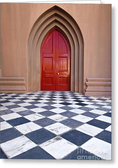 White Marble Greeting Cards - Red Door - D001859 Greeting Card by Daniel Dempster