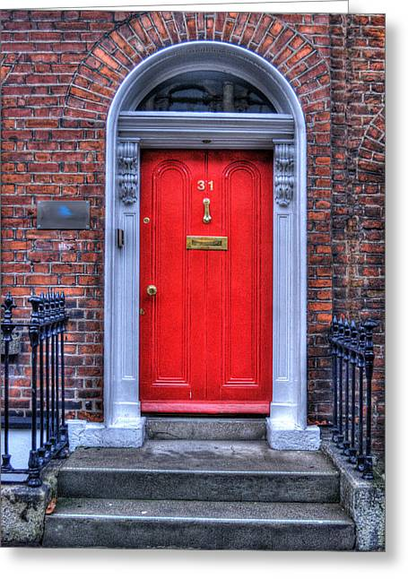 Wooden Antique Building Greeting Cards - Red Door Dublin Ireland Greeting Card by Juli Scalzi