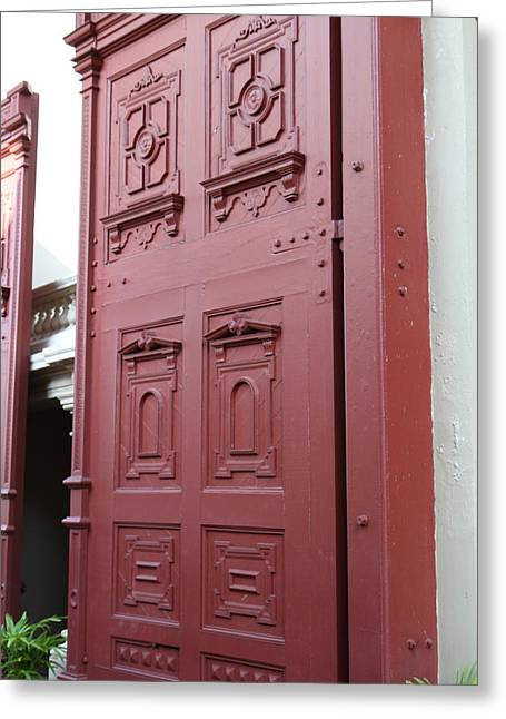 Large Photographs Greeting Cards - Red Door - Grand Palace in Bangkok Thailand - 01131 Greeting Card by DC Photographer