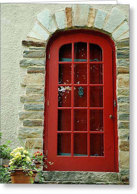 Stepping Stones Greeting Cards - Red Door in Baltimore Greeting Card by Linda Covino
