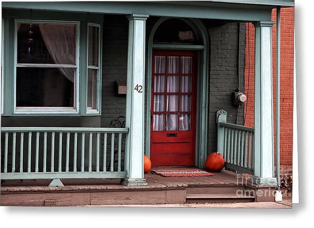Red School House Greeting Cards - Red Door in Lambertville Greeting Card by John Rizzuto