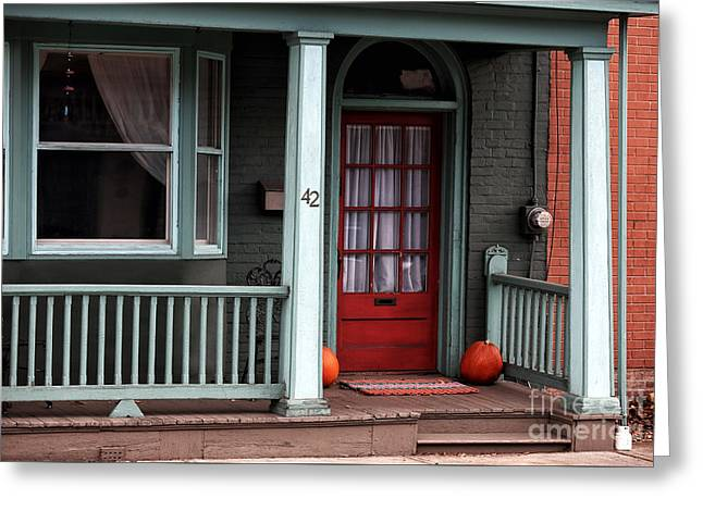 Red School House Photographs Greeting Cards - Red Door in Lambertville Greeting Card by John Rizzuto
