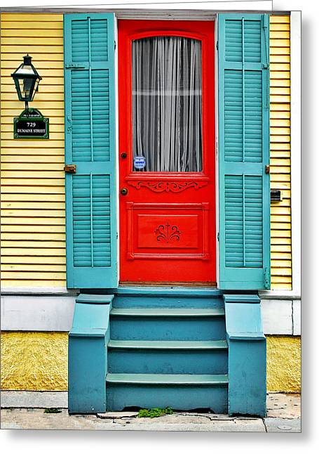 Red Doors Greeting Cards - Red Door in New Orleans Greeting Card by Christine Till