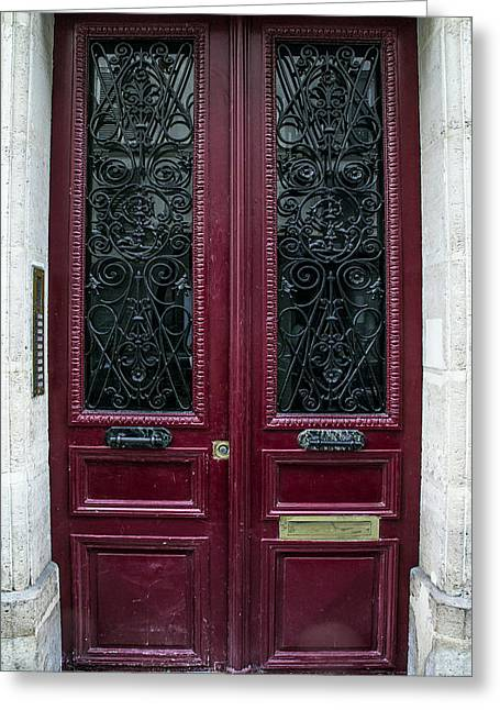 Entryway Greeting Cards - Red Door in Paris Greeting Card by Nomad Art And  Design