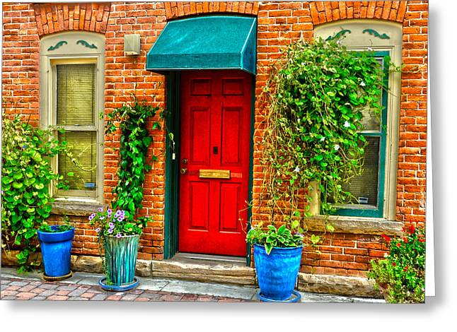 Red Door Greeting Card by Baywest Imaging