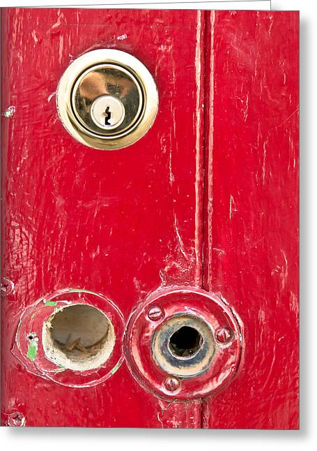 Anti Photographs Greeting Cards - Red door lock Greeting Card by Tom Gowanlock
