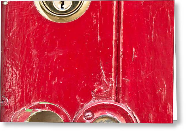 Red door lock Greeting Card by Tom Gowanlock