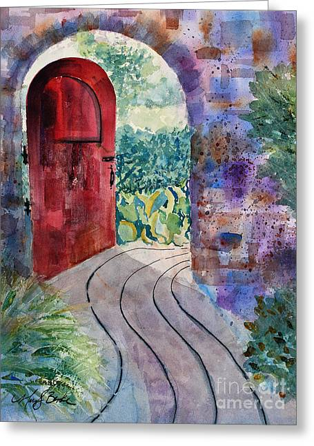 French Open Paintings Greeting Cards - Red Door Greeting Card by Mary Benke
