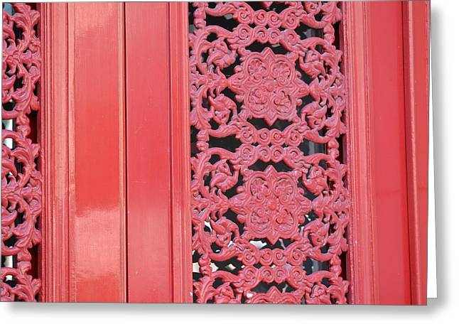 Antique Ironwork Greeting Cards - Red door Greeting Card by Michele Wisley