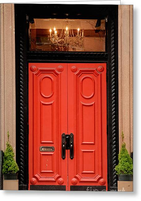 Chandelier Greeting Cards - Red Door on New York City Brownstone Greeting Card by Amy Cicconi
