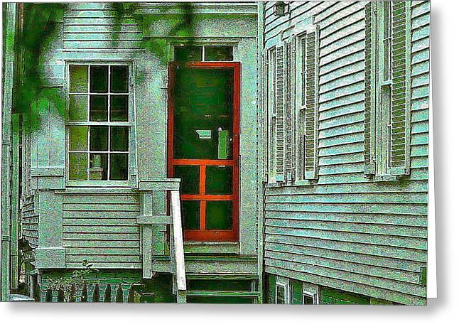 Screen Doors Greeting Cards - Red Door On The Cape Greeting Card by Ira Shander