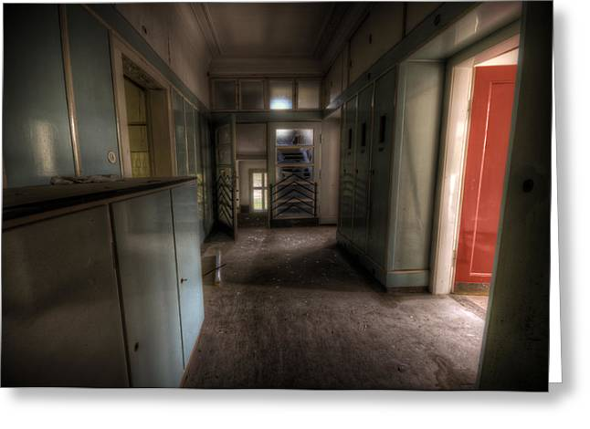 Creepy Digital Art Greeting Cards - Red Door Open Greeting Card by Nathan Wright