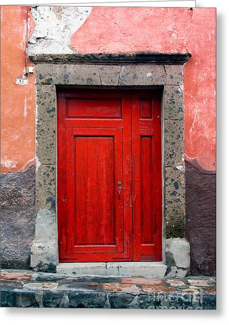 Entrance Door Greeting Cards - Red Door Greeting Card by Oscar Gutierrez