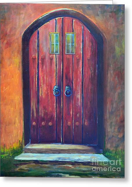 Gateway Church Greeting Cards - Red Door Greeting Card by Patricia Caldwell