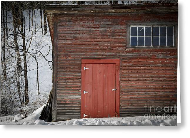 New England Barns Greeting Cards - Red Door Red Barn Greeting Card by Edward Fielding