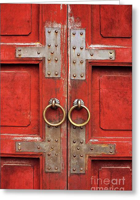 Southeast Asian Greeting Cards - Red Doors 01 Greeting Card by Rick Piper Photography
