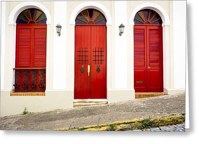 Old San Juan Greeting Cards - Red Doors Greeting Card by Kyle Wasielewski