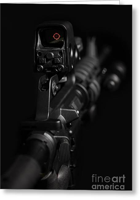 Police Special Greeting Cards - Red Dot AR Greeting Card by Jt PhotoDesign