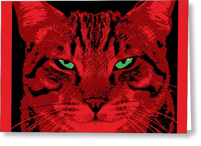 Comtemporary Art Greeting Cards - Red Dot Cat Greeting Card by Gary Grayson
