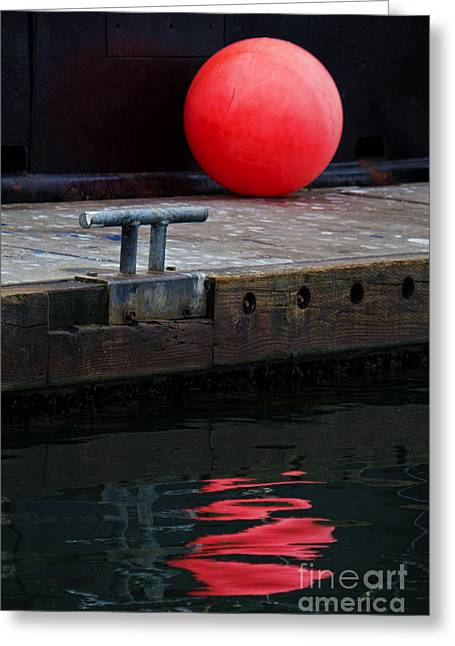 Docked Boat Greeting Cards - Red Dot Greeting Card by Elena Nosyreva