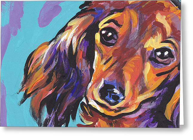 Lea Greeting Cards - Red Doxie Baby Greeting Card by Lea