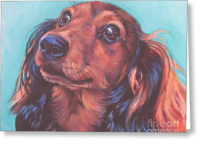 Puppies Paintings Greeting Cards - Red Doxie Greeting Card by Lee Ann Shepard