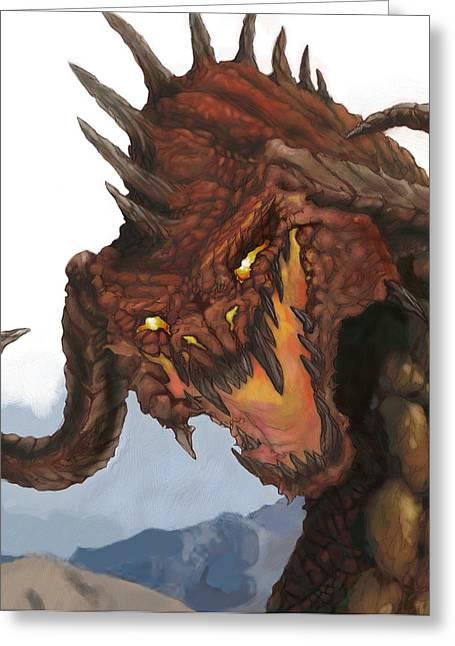 Dungeons Paintings Greeting Cards - Red Dragon Greeting Card by Matt Kedzierski