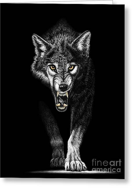 Apparel Drawings Greeting Cards - Red Dragon Wolf Greeting Card by Chris Trudeau