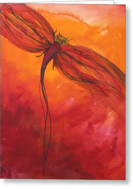 Red Photographs Paintings Greeting Cards - Red Dragonfly 2 Greeting Card by Julie Lueders