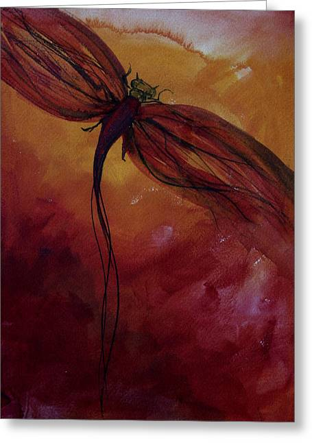 Dragon Fly Greeting Cards - Red Dragonfly Greeting Card by Julie Lueders