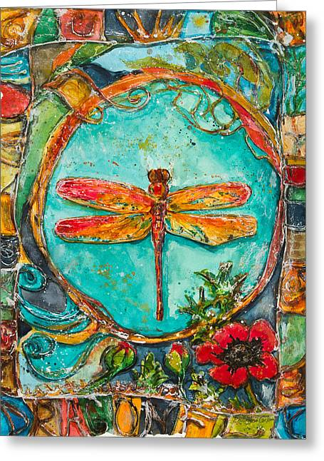 Dragonflies Mixed Media Greeting Cards - Red Dragonfly Greeting Card by Patricia Allingham Carlson